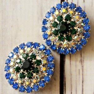 vintage round blue ab rhinestone green earrings
